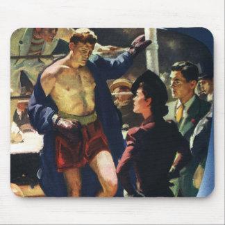 Deportes del vintage, boxeador de encajonamiento mouse pads