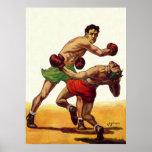 Deportes del vintage, boxeadores en una lucha del póster