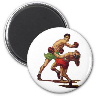 Deportes del vintage, boxeadores que encajonan imán redondo 5 cm