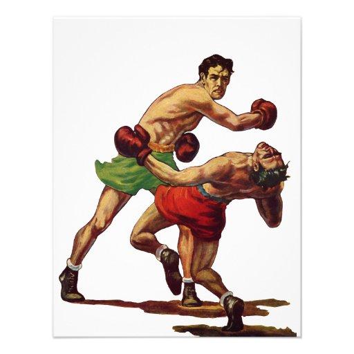 Deportes del vintage, boxeadores que encajonan luc invitaciones personalizada