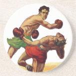Deportes del vintage, boxeadores que encajonan luc posavasos manualidades