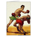 Deportes del vintage, boxeadores que encajonan luc tarjeta