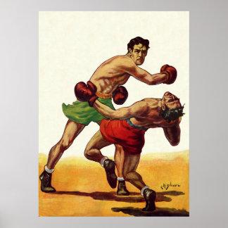 Deportes del vintage, boxeadores que encajonan póster