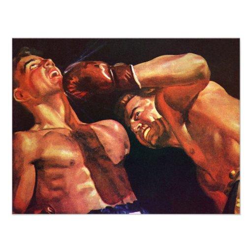 Deportes del vintage, combate de boxeo de los boxe invitacion personal