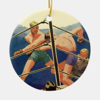 Deportes del vintage, combate de boxeo de los adorno redondo de cerámica