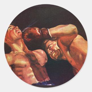 Deportes del vintage, combate de boxeo de los pegatina redonda