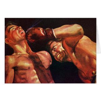 Deportes del vintage, combate de boxeo de los tarjeta de felicitación