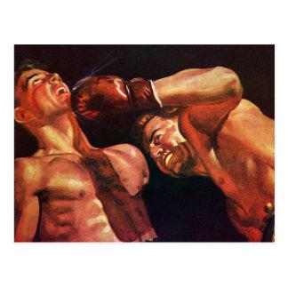 Deportes del vintage, combate de boxeo de los tarjeta postal
