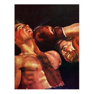 Deportes del vintage, combate de boxeo de los postales