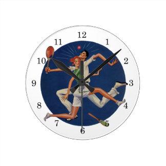 Deportes del vintage, desplome de los jugadores de reloj