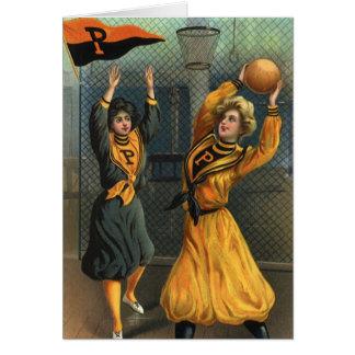 Deportes del vintage, equipos del baloncesto de tarjeta de felicitación