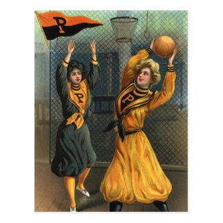 Deportes del vintage, equipos del baloncesto de postal