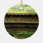 Deportes del vintage, estadio de béisbol, banderas adornos de navidad