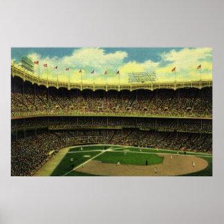 Deportes del vintage, estadio de béisbol, banderas póster