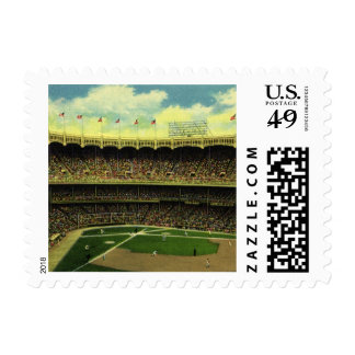 Deportes del vintage, estadio de béisbol, banderas sellos