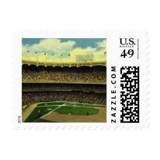 Deportes del vintage, estadio de béisbol, banderas sellos postales