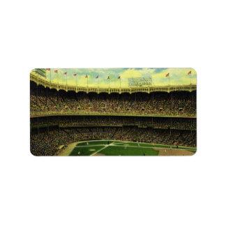 Deportes del vintage, estadio de béisbol con las b etiquetas de dirección