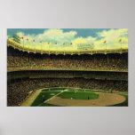 Deportes del vintage, estadio de béisbol con las b impresiones