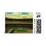 Deportes del vintage, estadio de béisbol con las sellos