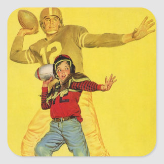 Deportes del vintage, estratega futuro del fútbol pegatina cuadrada