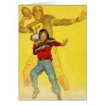 Deportes del vintage, estratega futuro del fútbol tarjeta de felicitación