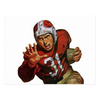 Deportes del vintage, futbolista, corriendo detrás postal