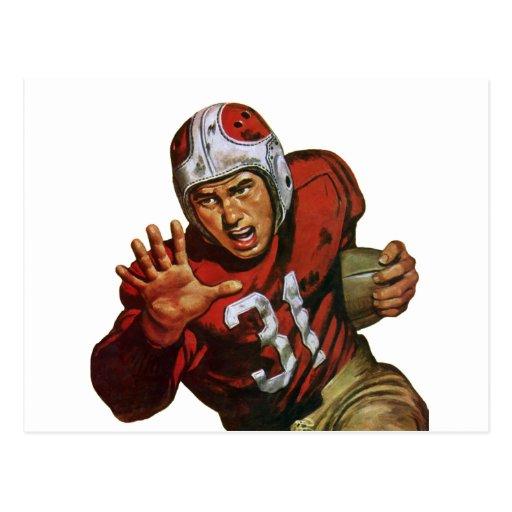 Deportes del vintage, futbolista, corriendo detrás tarjetas postales