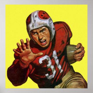 Deportes del vintage, futbolista poster