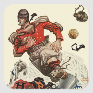 Deportes del vintage, futbolista pegatina cuadrada