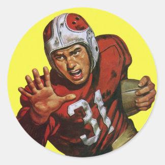 Deportes del vintage, futbolista pegatina redonda