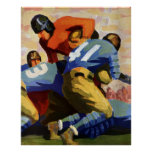 Deportes del vintage, futbolista póster