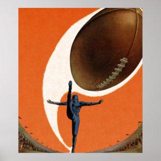 Deportes del vintage, futbolista que golpea la póster