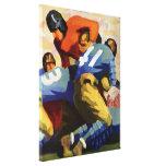 Deportes del vintage, futbolistas en un juego impresión de lienzo