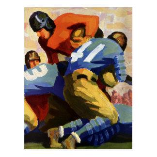 Deportes del vintage, futbolistas en un juego postal