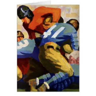 Deportes del vintage, futbolistas en un juego tarjeta de felicitación