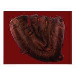 Deportes del vintage, guante de béisbol de cuero invitación 10,8 x 13,9 cm