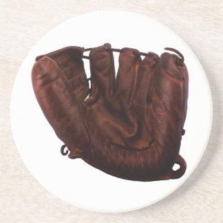Deportes del vintage, guante de béisbol de cuero posavasos para bebidas
