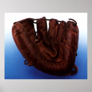 Deportes del vintage, guante de béisbol de cuero póster