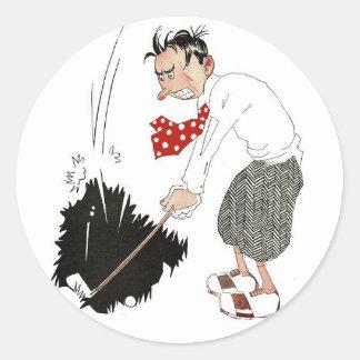 Deportes del vintage, humor tonto divertido del pegatina redonda