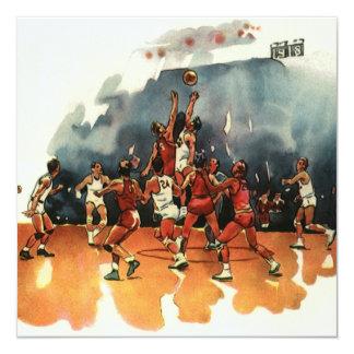 Deportes del vintage, juego de baloncesto, invitación 13,3 cm x 13,3cm