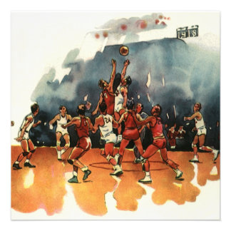 Deportes del vintage juego de baloncesto jugador invitacion personal