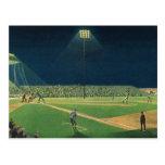 Deportes del vintage, juego de béisbol en la noche