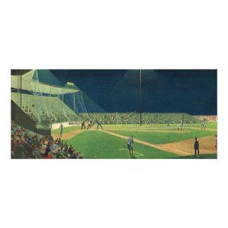 Deportes del vintage juego de béisbol en la noche anuncio personalizado