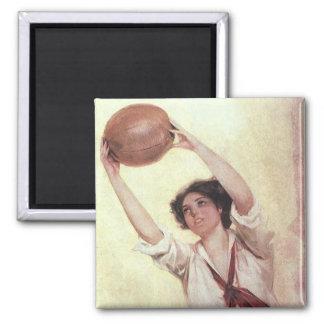 Deportes del vintage, jugador de básquet de la muj imanes