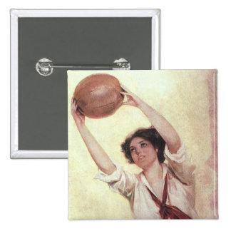 Deportes del vintage, jugador de básquet de la pin cuadrada 5 cm