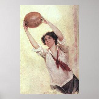 Deportes del vintage, jugador de básquet de la póster