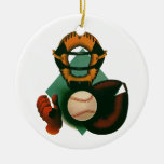Deportes del vintage, jugador de béisbol, colector adorno de navidad