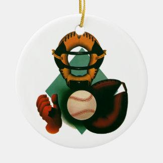 Deportes del vintage, jugador de béisbol, colector adorno redondo de cerámica