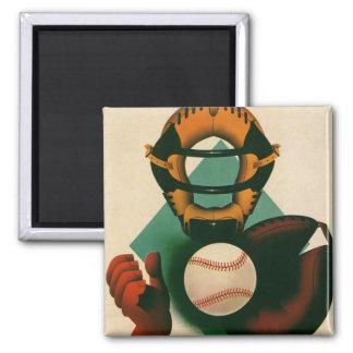 Deportes del vintage, jugador de béisbol, colector imán cuadrado