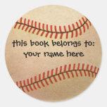 Deportes del vintage, jugador de béisbol, colector pegatinas redondas